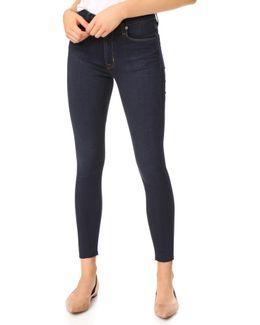 Barbara High Waist Super Skinny Jeans With Raw Hem