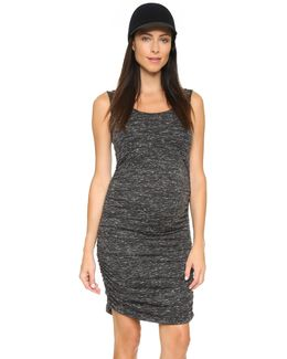 Marble Shirred Maternity Tank Dress