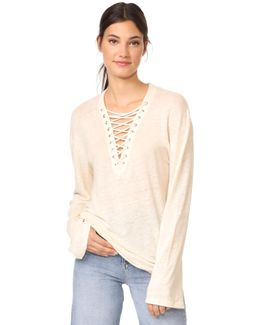 Aletty Lace Up Long Sleeve Tee
