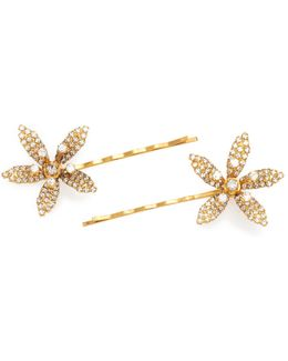 Petite Crystal Orchid Bobby Pin Set