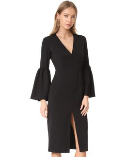 Deep V Bell Sleeve Dress
