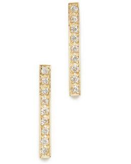 18k Gold Bar Diamond Stud Earrings