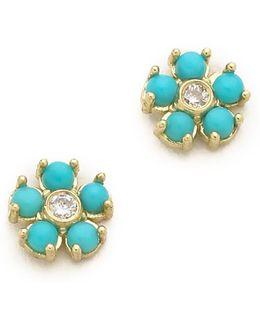 Turquoise Flower Diamond Stud Earrings