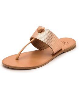 A La Plage Nice Metallic Thong Sandals
