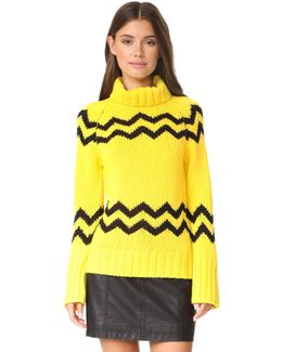 High Neck Intarsia Sweater