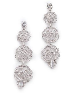 Crystal Rose Linear Earrings