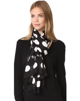 Grid Dot Oblong Scarf