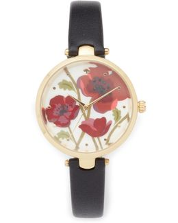 Novelty Leather Watch, 34mm
