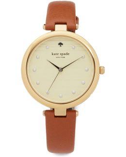 Varick Stripe Leather Watch, 36mm