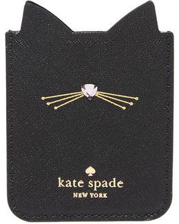 Embellished Cat Adhesive Phone Pocket