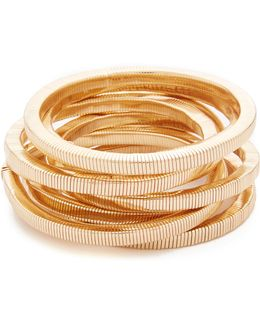 Polished Gold 8 Stack Bracelet