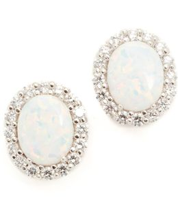 Oval Opal Stud Earrings