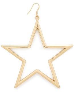 Single Open Star Fishhook Earring
