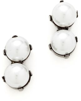 Double Imitation Pearl Duster Earrings