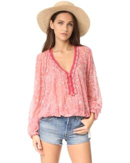 Paisley Embroidered Peasant Blouse