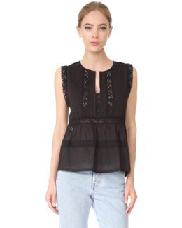 Sleeveless Lace And Pintuck Blouse