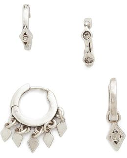 The Evil Eye Hoop Huggie Earring Set