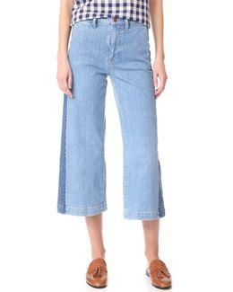 Wide Leg Crop Jeans With Tux Stripe