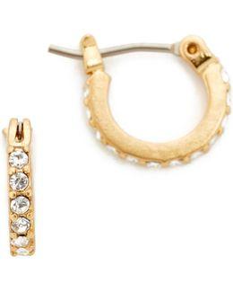 Delicate Pave Crystal Hoop Earrings