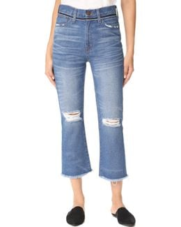 Retro Cropped Bootcut Jeans With Ripped Knees