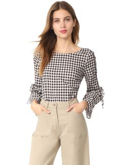 Lace Up Belle Sleeve Blouse In Gingham