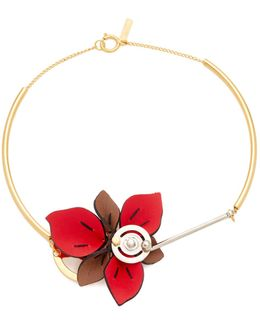 Collier With Leather Flower