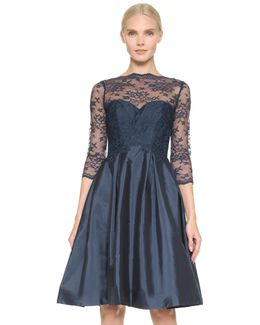 Lace Bodice V Back Dress