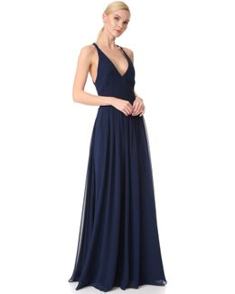 V Neck Gown With Tie Back