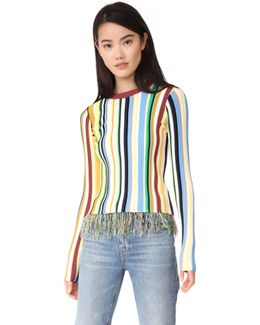 Vertical Stripe Pullover Sweater