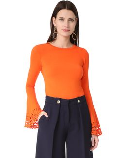 Cutout Flare Sleeve Pullover