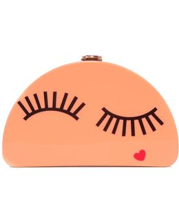 Solid Eyelash Half Moon Clutch