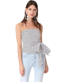 Dot Print Strapless Blouse