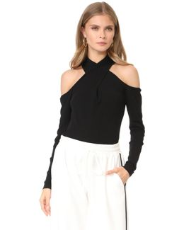 Wrap Keyhole Neck Top