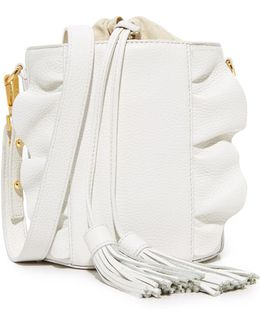 Astor Ruffle Drawstring Bucket Bag