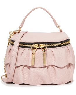 Ruffle Top Zip Cross Body Bag