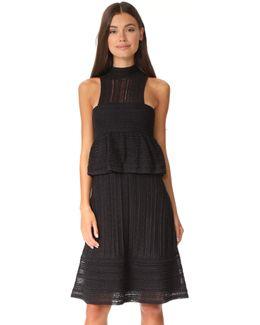 Peplum High Neck Dress