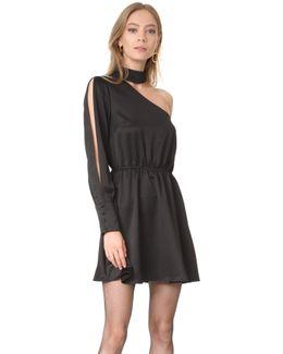 One Shoulder Mock Neck Dress