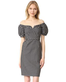 Cheeky Off-the-shoulder Check Sheath Dress