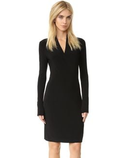 Long Sleeve Side Draped Dress