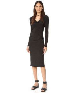 Kamali Kulture V Neck Shirred Dress