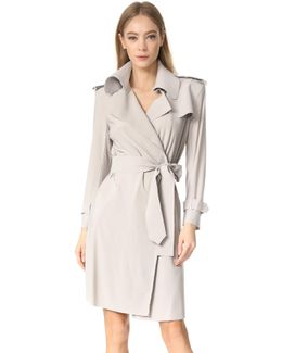 Double Breasted Trench Wrap Dress
