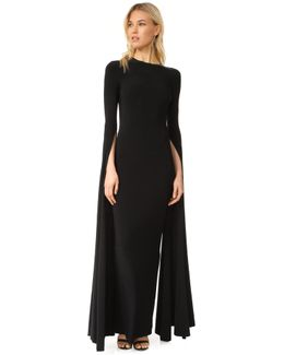 Ribbon Sleeve Fitted Gown