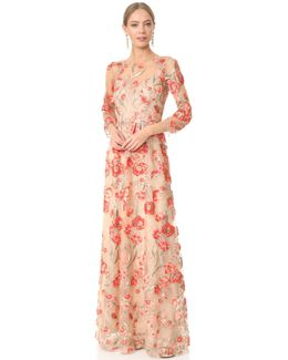 Embroidered Gown With Lace Slip