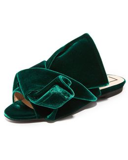 Flat Slides With Bow In Velvet