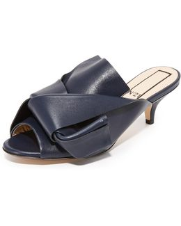 Kitten Slides With Bow In Leather
