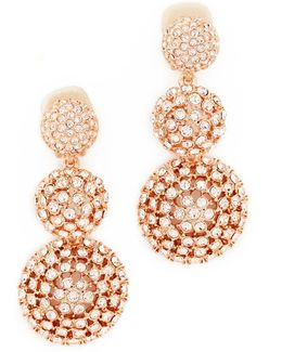 Pave Crystal Dome Drop Clip On Earrings