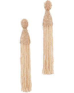 Long Beaded Tassel Clip On Earrings