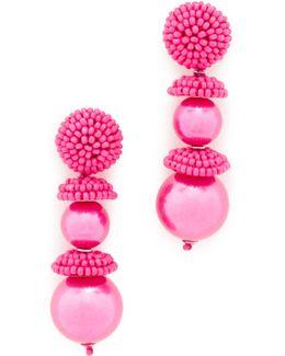 Beaded Cap Imitation Pearl Earrings