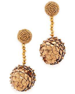 Beaded Sequin Ball Earrings
