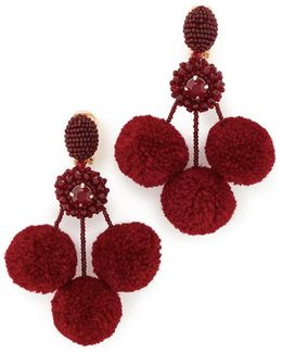 Triple Pom Pom Clip On Earrings